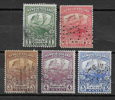 Newfoundland , Canada , 1919 , Caribou , Set Of 5 Stamps , Perf , Used