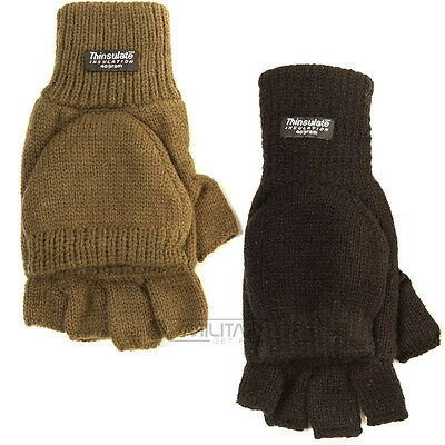 Knitted Thinsulate Shooters Mitts Fingerless Gloves Mittens Hunting Shooting