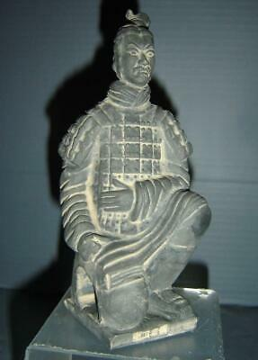 Antique Chinese Qin Dynasty Terracotta Tomb Kneeling Warrior Statue Marked.
