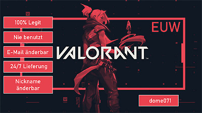 Valorant Account Key - EUW - Closed Beta - ALLES Änderbar✅ [NO BOT]✅ SUPER FAST!