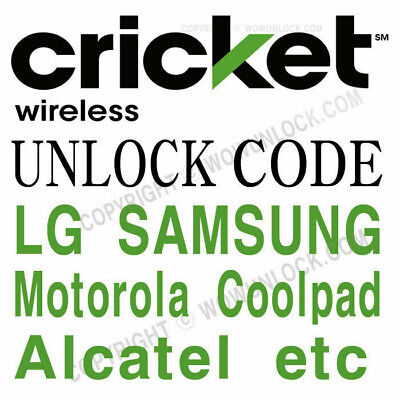 USA - Cricket Generic (Alcatel ZTE LG Motorola etc.) unlock code Clean & Active