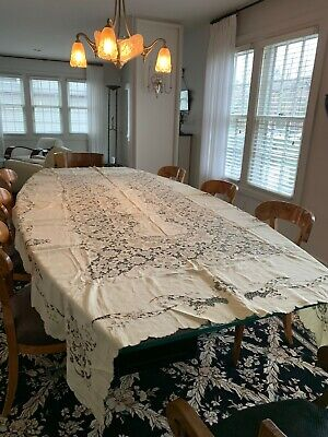 Exquisite Embroidered Antique Linen Tablecloth - Light Cream Color, Lightly Used
