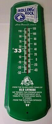 """Vintage Rolling Rock Green Metal Outdoor Thermometer """"33"""" Beer Sign 27"""" x 8"""""""