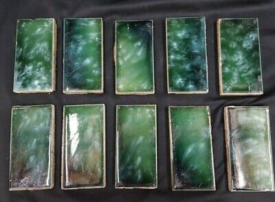 Set of 40 Architectural Salvaged 4 1/8 x 2 1/8 Ceramic Tile Blue Green Swirl