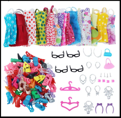 42 Pcs Lot Doll Clothes Gown Dress For Barbie Fashion Outfit Crown Bag Gift Set