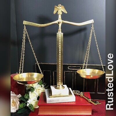Vintage Solid Brass and White Marble Justice scale With Eagle top Law Scale