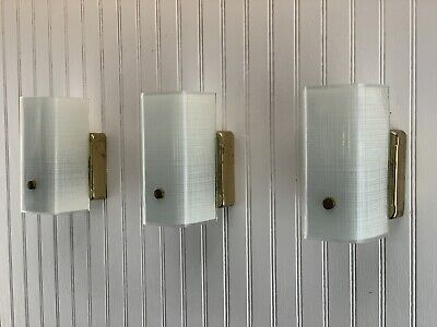 Mid Century Modern Frosted Woven Burlap Glass Bathroom Wall Sconce Light Fixture
