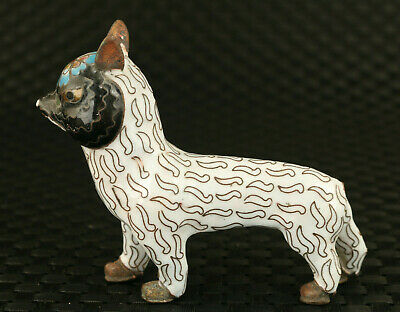 Chinese cloisonne hand painting fox statue collect table decoration no tail