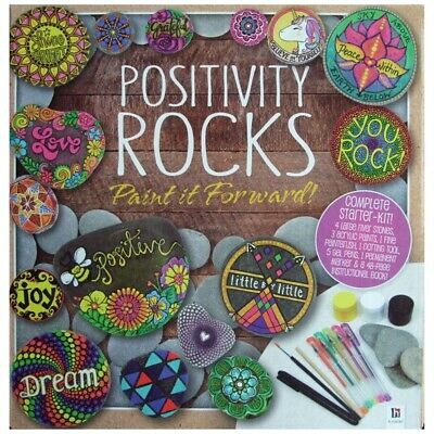 Childrens Craft Sets - Positivity Rocks, Pebble Painting Kit Set Positive Rocks