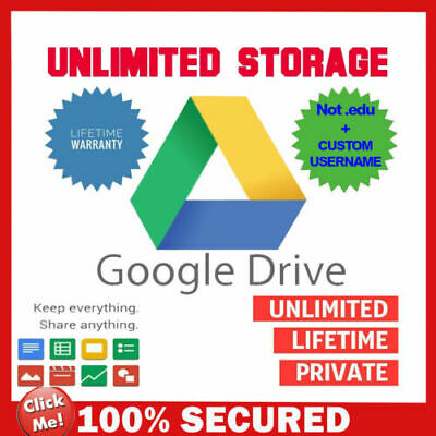 Unlimited Storage Google Drive Account [Not .Edu] [Lifetime] [Custom Username]