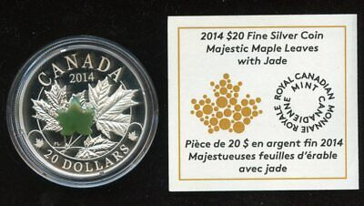 2014 Majestic Maple Leaves with Jade $20 Fine Silver Coin with COA