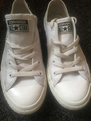 Girls Ladies Lovely CONVERSE All Star Leather Plimsolls White UK 2-5 Used