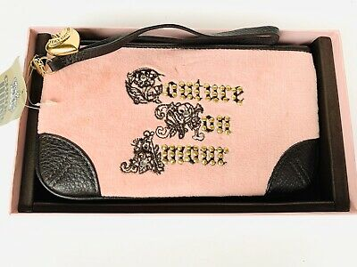 NEW Juicy Couture Wristlet Clutch Pink Velour Brown Leather Mon Amour Stud $68