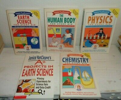 lot 5 JANICE VANCLEAVE books SCIENCE FOR FUN series easy experiments