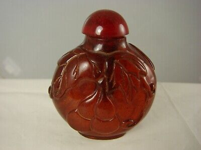 Chinese Cherry Amber Snuff Bottle with Double Gourd Motif