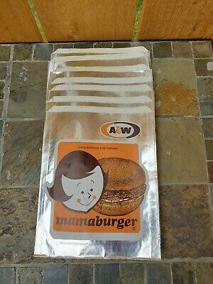 Vintage A&W Mama Burger Wrappers Set of 7