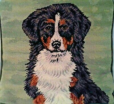 "Bernese Mountain Dog 13"" SquareNeedlepoint Pillowcase Velveteen Back With Zipper"