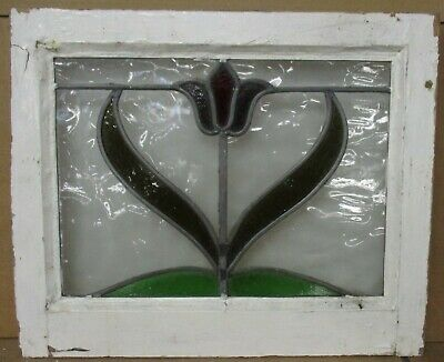 """OLD ENGLISH LEADED STAINED GLASS WINDOW Pretty Flower Design 20.75"""" x 17"""""""