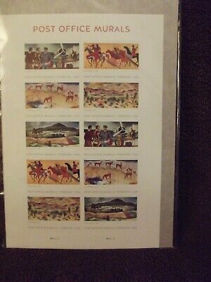 Post Office Murals Sheet of 10 Mint State, Never Used, Never Hinged USPS Stamps