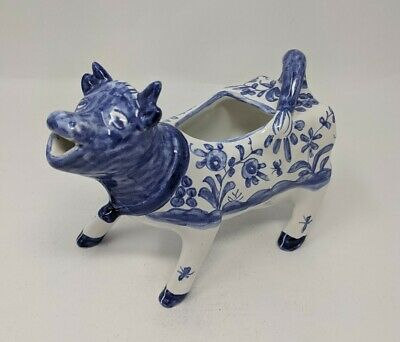 Porcelain Cow Creamer Hand Painted Made in Portugal Signed Vintage