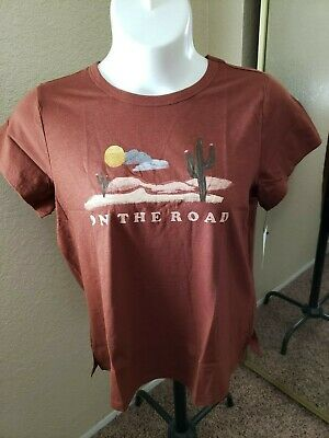 """Women's NWT SONOMA Goods For Life Size XL Dark Rust """"On The Road"""" Scoop Neck"""