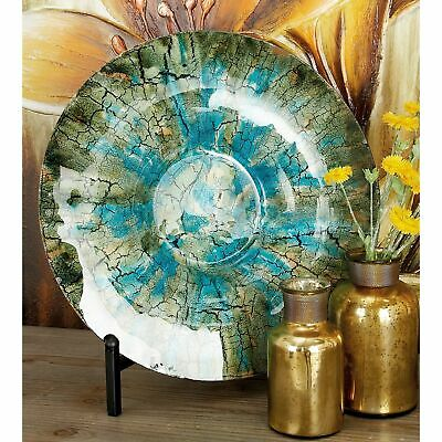 Traditional 18 Inch Glass Decorative Plate With Iron Stand Turquoise N/A
