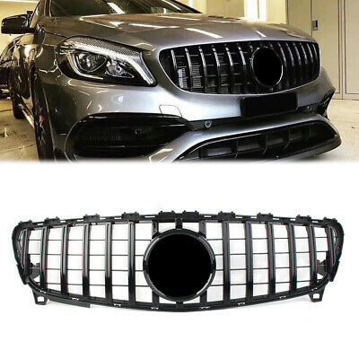 Black C63 AMG Style Debadge Mesh Grill Grille