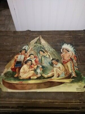 1906 W.D. Meyer Store Embossed Die Cut CALENDAR Children Indian Chief Quincy ILL