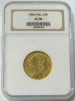 1786 A Gold France Louis D' Or King Louis Xvi Coin Ngc About Unc 58