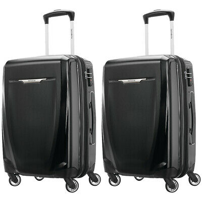 """Samsonite Winfield 3 DLX Spinner Hardside Luggage 20"""" Carry-On, Black (2-Pack)"""