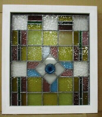 "MIDSIZE OLD ENGLISH LEADED STAINED GLASS WINDOW Stunning Victorian 22.25""x 25.5"""