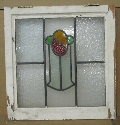 """OLD ENGLISH LEADED STAINED GLASS WINDOW Pretty Floral Design 20"""" w x 20.5"""" h"""