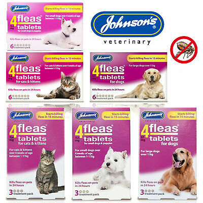 Johnson's 4Fleas Tablets For Puppy Dog Kitten Cat Flea Killer Starts in 15 Mins