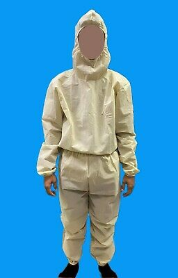 PPE Suit Disposable 1 pair Hoodie & Bottom Coverall Non-woven 90 gsm Beige