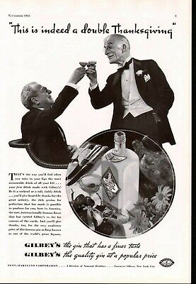 1935 Distillery Gilbeys Dry Gin Alcohol Holiday Thanksgiving Ad 6159