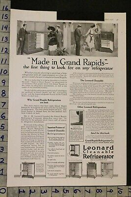 1918 Decor Kitchen Refrigerator Leonard Oak Ice Box Grand Rapids Mich Ad Sf56