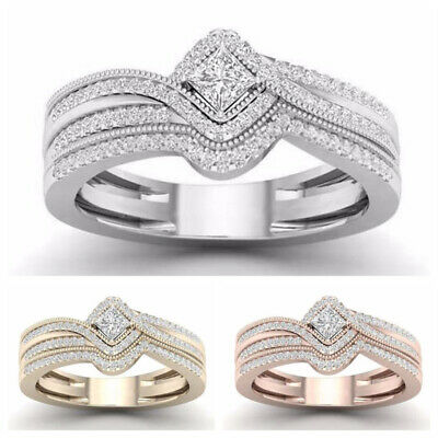 Gorgeous Rings for Women 925 Silver,Rose Gold,Gold White Sapphire Ring Size 6-10