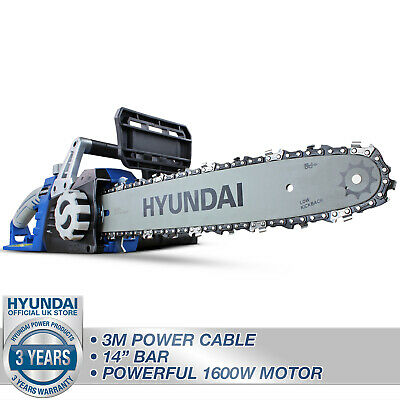 "Hyundai Electric Corded Chainsaw 1600W 14"" 35cm Cut, Soft grip & Lightweight"