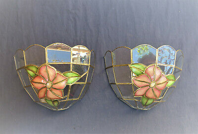 2Tiffany Lotus flower sconces in glass and mother of pearl, spare parts lamps