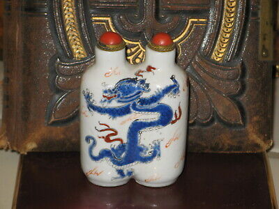 Antique Cojoined Rare Blue Dragon With Red Coral Lid  Chinese Snuff Bottle