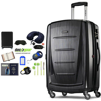 """Samsonite Winfield 2 Fashion HS Spinner 20"""" Anthracite + Luggage Accessory Kit"""