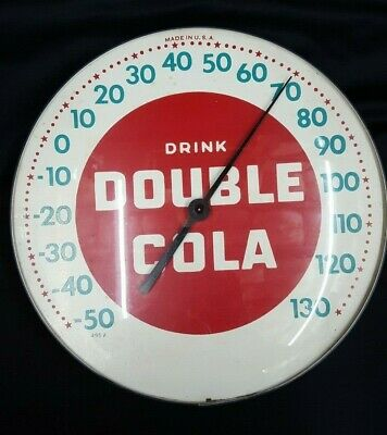 Vintage Drink Double Cola Round Wall Thermometer