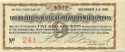 1905 Bullfrog Water Light & Power Co $5 Bond Coupon ~ Rhyolite Nevada Ghost Town