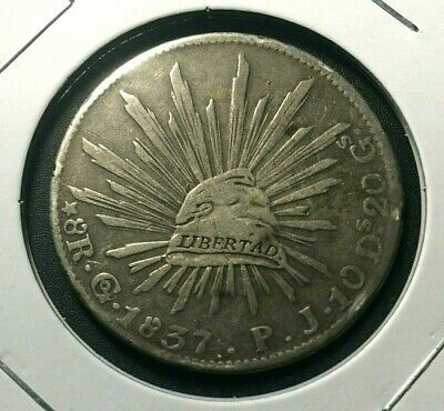 1837 🔥 Mexico Go PJ Large 8 Reales Silver Coin KM 377.8 ✨ XF 🌞 Early 8R