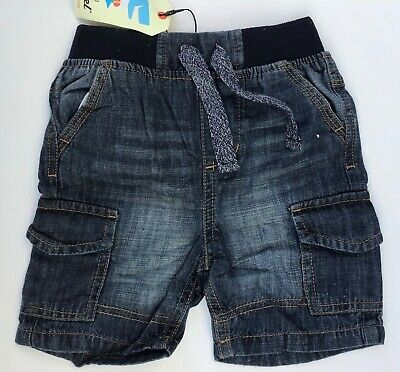 Baby / Boys Blue Denim Pull Up Shorts with Comfy Waist Band