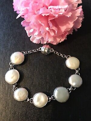 17.5 Inch 925 Sterling Silver Necklace 16mm Cultured Freshwater Coin Pearl Pendant