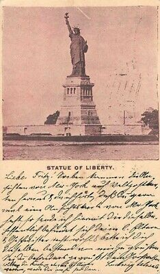 NEW YORK CITY, NY ~ STATUE OF LIBERTY VIEW ON GOV'T POSTAL CARD ~ used 1897