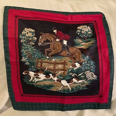 """FOX HUNT Horse Equestrian Fabric OPEN BACK Pillowcase 16"""" Square Dogs Hunting"""