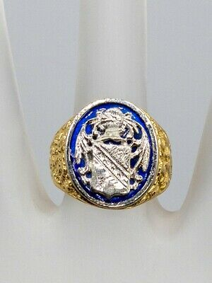 Antique 1940s $4000 COAT OF ARMS Signed 18k Yellow Gold Platinum Mens Ring 12g