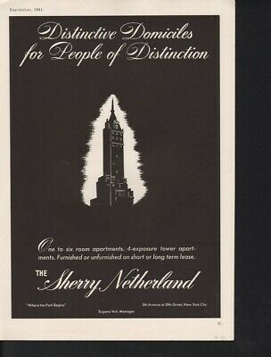 1941 Sherry Netherlands Tower Architectural  Deco12136